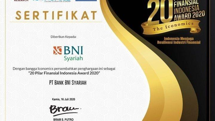 BNI Syariah Raih Penghargaan 20 Pilar Finansial Indonesia Award 2020 dari The Iconomics 1