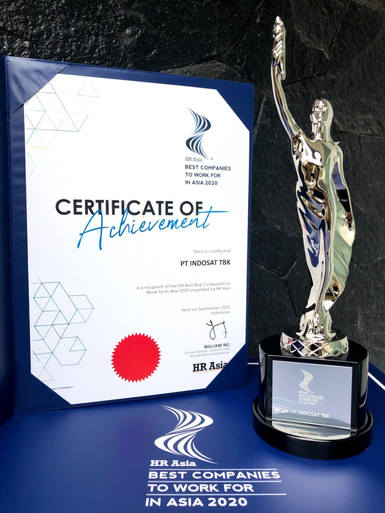 """Indosat Ooredoo Meraih HR ASIA Award: """"Best Companies to Work for in ASIA 2020"""" 1"""
